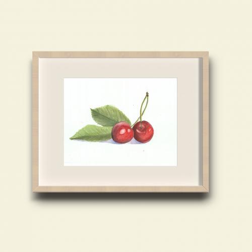 acquarello-ciliegie-etichetta-marmellata-bio